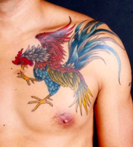 Rooster Tattoo by Azarja van der Veen